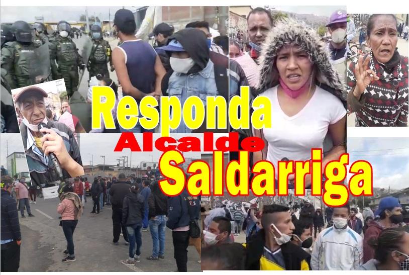 """Se """"incendia"""" por hambre Soacha; y antes que solución, represión"""